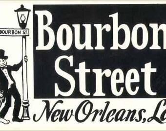 Vintage Style New Orleans Louisiana Bourbon Street Mardi Gras Travel Decal sticker