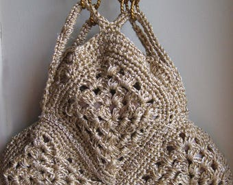 Bag crocheted with gold thread