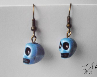 Bronze Pearl Earrings skull / skull blue