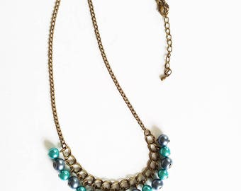 Bronze, blue and turquoise beads necklace
