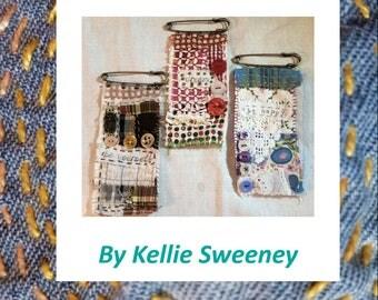 Brooch kit using vintage fabrics