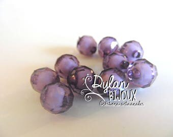 Faceted acrylic bead 10 mm / purple