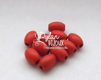 10 oval wooden beads / olives ' red ' 10 x 16 mm