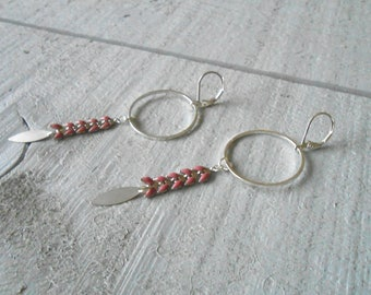Earring ear enamel old pink/silver chain