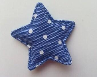 étoile matelassée  façon jean foncé à pois 35mm