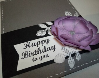 Happy Birthday card - purple flower on black cardstock