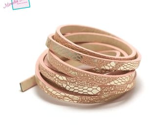 """1.15 m strip of split leather 5 x 2 mm """"scale"""", pink"""