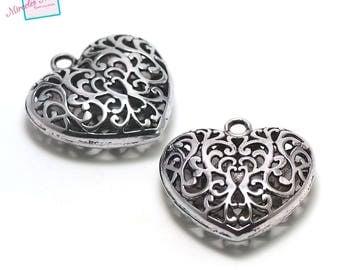 "beautiful 1 ""3 D filigree heart"" pendant 50 x 50 mm, silver, 089"