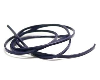 1 m cord strap genuine leather 3 x 2 mm, purple