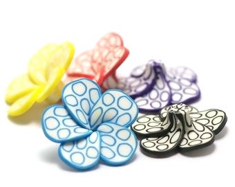 "4 beads ""Polynesian flowers"" n ° 7 32x11mm, colourful"