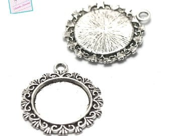 4 holders for cabochon pendant round 20mm, silver, 004