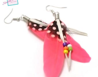 2 charms/pendant/earrings ear feather 80 x 20 mm coral 005