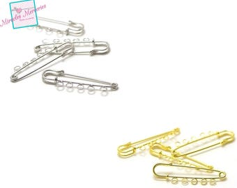 4-prong pins safety 56 x 15 mm 5 holes, gold/silver