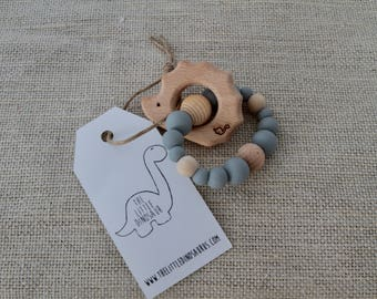 Hedgehog Infant/Toddler Teether With Silicone Beads - Gray