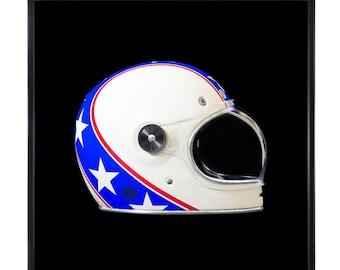 Vintage photographic print in subligraphie Evel Knievel helmet