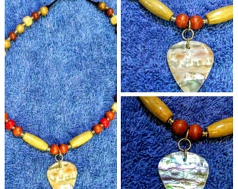 abalone guitar pick necklace #2