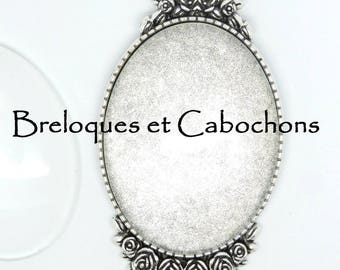 1 silver pendant holder 40 x 30 mm oval Cabochon