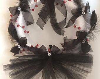 Christmas wreath with tulle and Ribbon