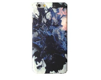 Blue Watercolor Marble iPhone 7 Case Glossy Abstract High Quality Hard iPhone 8 6s 6 Plus 5SE case Top Selling Gift For Her iPhone Case