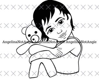 Baby Kami holding teddy svg cut file