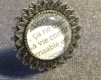 Ring Cabochon * round * text * happiness