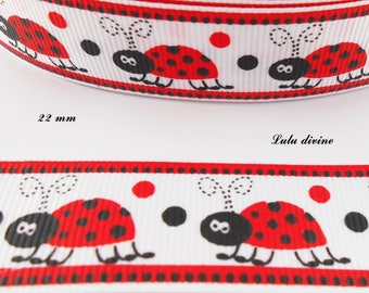 Gros-grain edging Red Ladybug 22 mm Ribbon sold by 50 cm