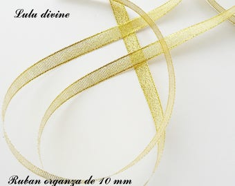 Glitter 10 mm, sold in 2 meters organza Ribbon: light gold with golden threads