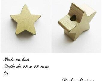 18 x 18 mm wooden bead, bead flat Star: Gold