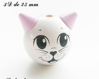 25 mm wooden bead, Pearl 3D Cat Head: white / light pink