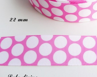 Light pink grosgrain with large white dots of 22 mm Ribbon sold by 50 cm