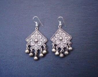 Vintage ethnic silver earrings   oriental earrings   Egyptian earrings   ethnic earrings   vintage earrings   boho earrings   geometric