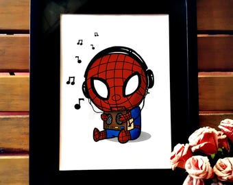 Spiderman chibi poster  fanart, wall decor: Printable Spideman Homecoming art, kids bedroom art