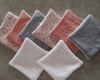 Set of 8 wipes for baby or demake up for MOM liberty eloise/grey/pink