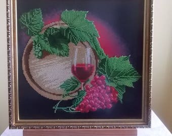 Table wine embroidered glass beads