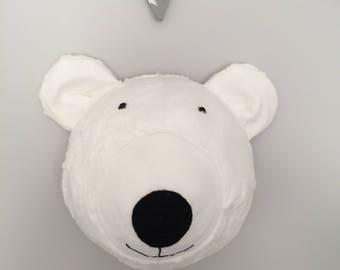 Faux Taxidermy Bear Head, Fabric Wall Mounted Animal Head, nursery wall decor
