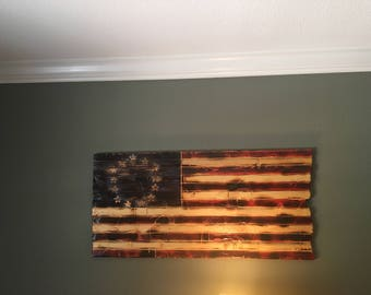 Handcrafted American wood flag