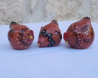 Decorative mini-Poules red earthenware