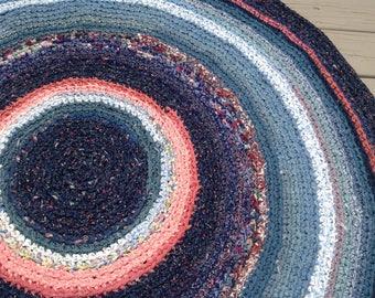 "Crocheted 51"" Round Navy Rag Rug"