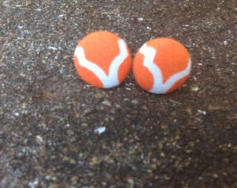 Orange Cover Button Earrings