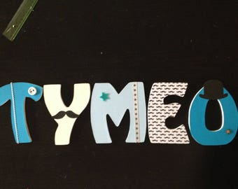 Mustache TYMÉO decorated wooden letters