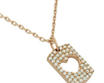 """Rose gold plated cz pave tag necklace with cutout heart 16"""" + 2"""""""