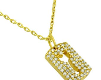"""Gold plated cz pave tag necklace with cutout arrow 16"""" + 2"""""""