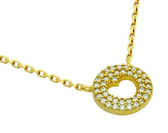 """Gold plated cz pave disk necklace with cutout heart 16"""" + 2"""""""