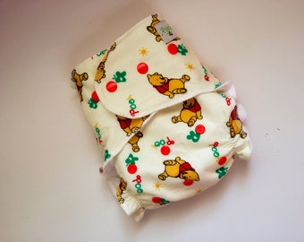 Flannel Fitted Cloth Diaper, One Size, No Insert included