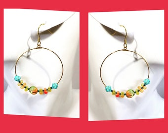 Fairy hoop colourful Czech Japanese beads ear wires ear clips earrings