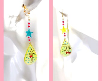 Resin dangle yellow unique woman chandelier german Czech beads earrings (shaving)