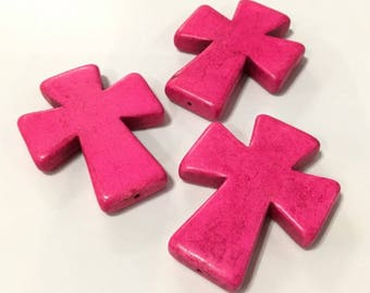 x 1 large 50mm or 5cm pink stone cross