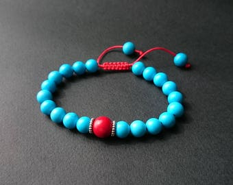 Adjustable bracelet with turquoise beads and Red Sea bamboo coral