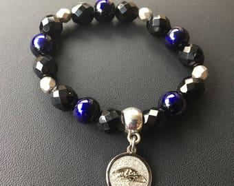 Baltimore Ravens Inspired Beaded Bracelet