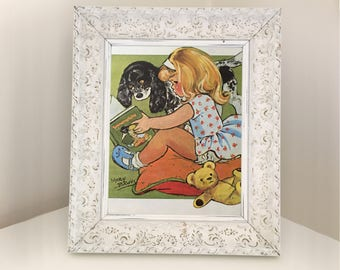 Illustration of child reading a book with spaniel. Gift for daughter, niece, girl. Nursery playroom decoration. Retro print for framing